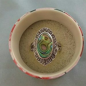 Jewelry - Vintage Abalone and Marcasite 925 ND Ring